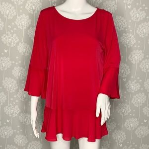 Ivanka Trump Blouse Size Medium Red Ruffles